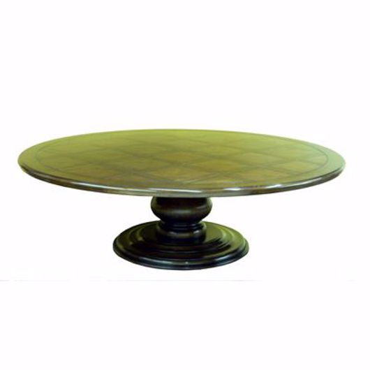 Picture of 96″ROUND PEDESTAL TABLE W/ WOVEN PARQUET TOP