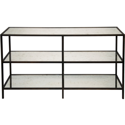 Picture of 3 TIER CONSOLE WITH ANTIQUE GLASS, BLACK METAL FINISH