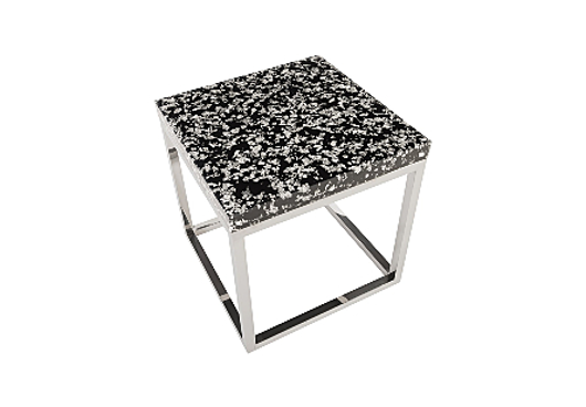 Picture of CAPTURED SILVER FLAKE END TABLE WITH SS BASE