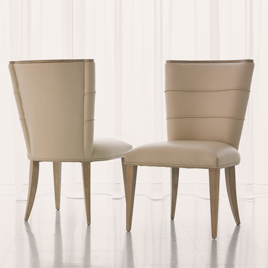 Picture of ADELAIDE SIDE CHAIR-BEIGE LEATHER
