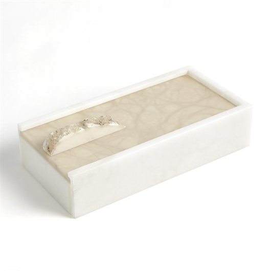 Picture of ALABASTER RECTANGLE BOX W/ROCK FINIAL