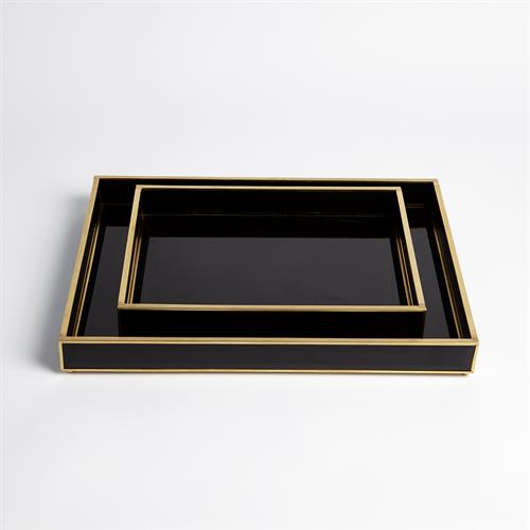 Picture of BEVELLED BLACK GLASS TRAYS